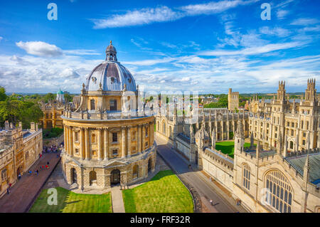 The Bodleian Library, Radcliffe Camera building completed in 1747, viewed from the University church tower. - Stock Photo