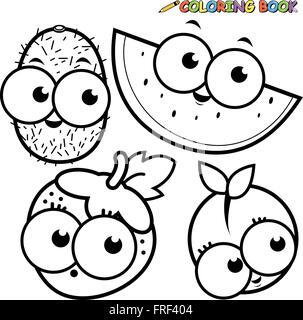 Coloring Book Page Fruit Cartoon Set Kiwi Watermelon Strawberry Peach