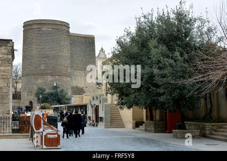 Maiden's Tower from the Old City in Baku, capital of Azerbaijan. On the Caspian Sea in the old city - Stock Photo