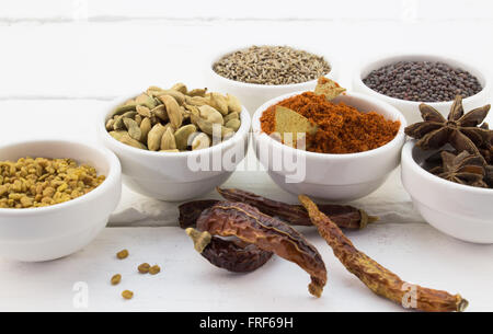 Narrow depth of field photo of dried Middle Eastern spices on a white wood background - Stock Photo
