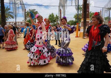 Andalucian Women during the Feria in Jerez -  07/05/2013  -  Spain / Andalusia / Jerez de la Frontera  -  Women - Stock Photo