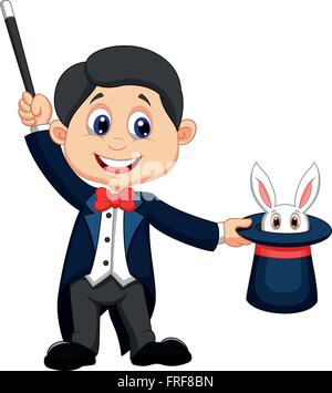 Magician pulling out a rabbit from his top hat - Stock Photo