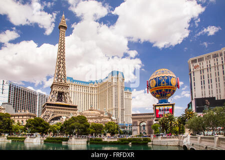View of resort casinos along the Vegas Street in Las Vegas Nevada - Stock Photo