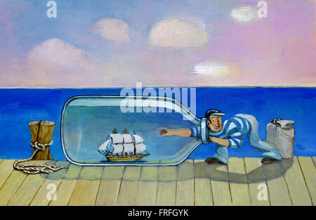 a sailor on a pier should take a closed vessel in a bottle to sail on the sea behind her - Stock Photo