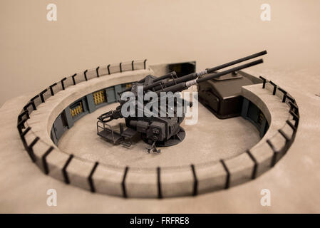 A close up of an anti-aircraft gun on the large model 'Flakturm Humboldthain' in as scale of 1:35 by model builder - Stock Photo