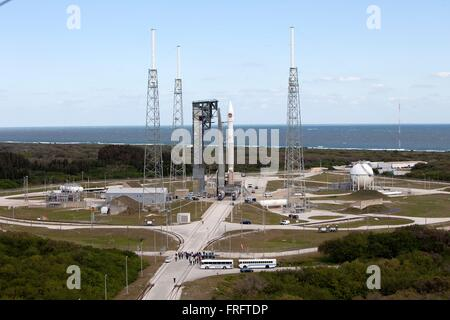 The Cygnus OA-6 spacecraft on the United Launch Alliance Atlas V rocket is positioned for launch at Space Launch - Stock Photo