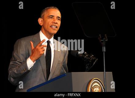 Havana, Cuba. 22nd Mar, 2016. U.S. President Barack Obama delivers a speech at the Grand Theatre in Havana, capital - Stock Photo