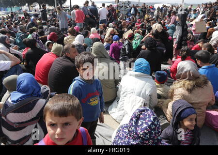 Idomeni, Greece, 22 March 2016. A refugee child looks at the camera during an 'Open the Borders' sit-in protest - Stock Photo