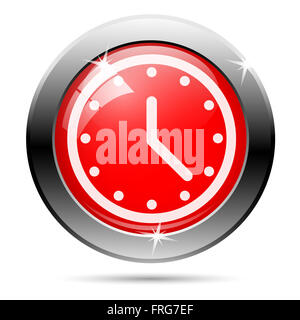 Clock icon with white on red background - Stock Photo
