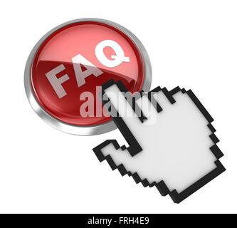 Faq button and hand cursor - Stock Photo