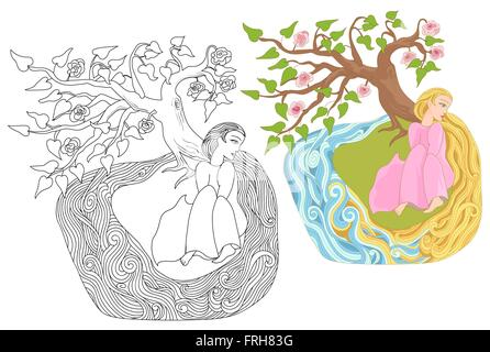 Dreamy girl with long hair on the river bank. Fairy story for stickers, posters and illustrations of coloring books. - Stock Photo