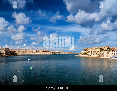 view of la valletta old town in malta - Stock Photo