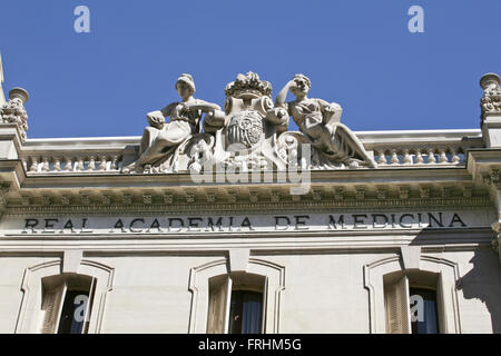 Atlanteans at the door of the Royal Academy of medicine in Madrid .Spain Atlantes en la puerta de la Academia Real - Stock Photo