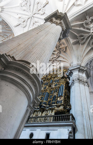 Interior of the Cathedral, Granada, Andalusia, Spain - Stock Photo