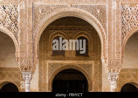 Moorish architecture inside the Palacios Nazaries or Nasrid Palaces, Alhambra palace, Granada, Andalusia, Spain - Stock Photo