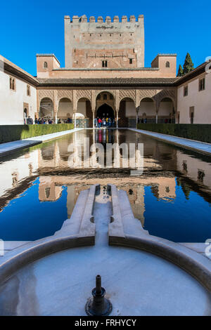 Patio de los Arrayanes or Court of the Myrtles, Palacios Nazaries or Nasrid Palaces, Alhambra palace, Granada, Andalusia, - Stock Photo