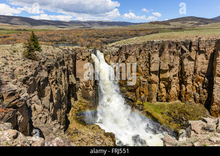 North Clear Creek Falls - North Clear Creek Falls in Late May. Rio Grande National Forest, Hinsdale County, Colorado, - Stock Photo