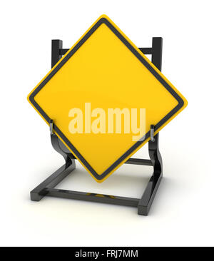 Road sign - blank , 3d rendered image. - Stock Photo
