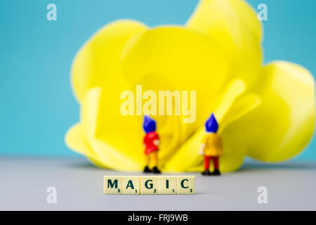 Miniature dwarves with giant flower on blue background - Stock Photo