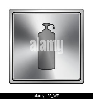 Square metallic icon with carved design on grey background - Stock Photo