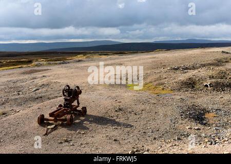 Old abandoned mining equipment on Melbecks Moor, near Gunnerside, Swaledale, Yorkshire Dales, England, UK - Stock Photo