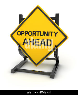 Road sign - opportunity ahead , 3d rendered image. - Stock Photo