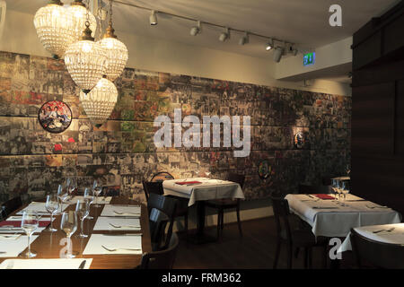 Dining hall of HILTL the world oldest continuously open vegetarian restaurant in Zurich Switzerland - Stock Photo