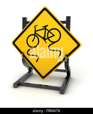 Road sign - slippery road ahead , This is a computer generated and 3d rendered picture. - Stock Photo