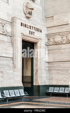 Milan railway station (Milano Centrale), Italy, completed in 1931. Entrance to the ticket offices - Stock Photo