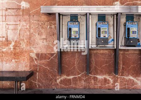 Three public phone post in Zaragoza,Aragón,Spain. - Stock Photo