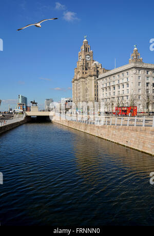 Here we can see the Royal Liver Buildings & Peel Ports building to the RHS, with the Ferries terminal building to - Stock Photo