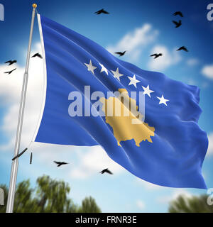 Flag of Kosovo , This is a computer generated and 3d rendered image. - Stock Photo