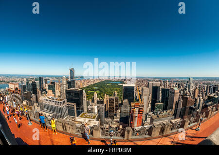Central Park, New York City viewed from the Observation Deck of the Rockefeller Center, New York City, USA. - Stock Photo
