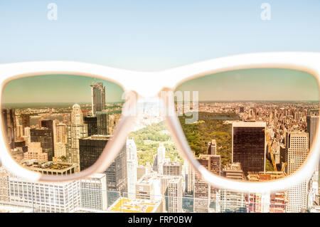 Central Park, New York City viewed through sunglasses from the Observation Deck of the Rockefeller Center, New York - Stock Photo