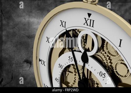 Roman numeral clock on black background - Stock Photo