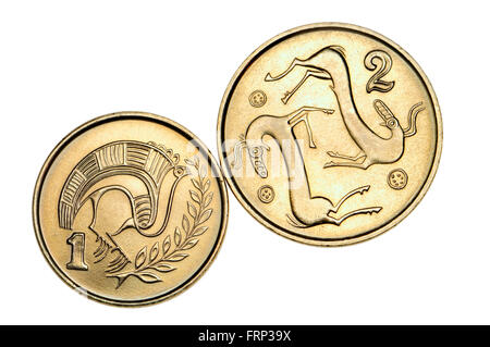 Pre-Euro coins of Cyprus: One cent showing Stylised bird perched on a branch from a jug of bichrome ware from the - Stock Photo