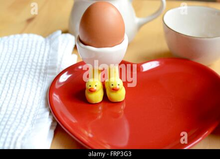 Breakfast boiled egg served on a heart shaped plate - Stock Photo