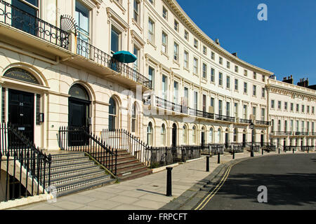 Terraced homes in Brighton and Hove, UK - Stock Photo