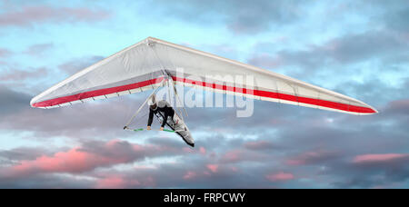Man in a harness hang-gliding at sunset against pretty pink clouds in the sky in a close up view - Stock Photo
