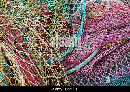 Fishing nets, Cala Ratjada, Majorca, Balearic Islands, Spain - Stock Photo