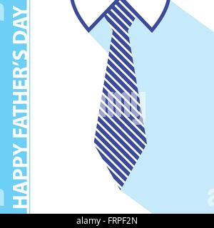 happy fathers day card on tie and white shirt background - Stock Photo