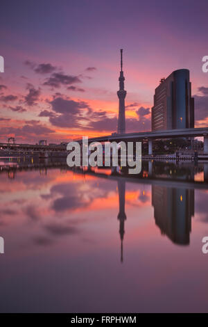 The Tokyo Sky Tree in Tokyo, Japan, reflected in the Sumida River at sunrise. - Stock Photo