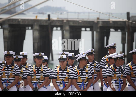 Panama City, Panama. 22nd Mar, 2016. Members of the Mexican Navy stand aboard the naval training ship Cuauhtemoc - Stock Photo