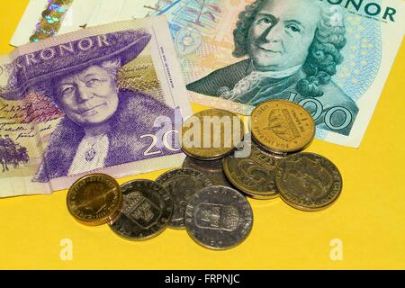 The crown (Swedish krona, plural krona) is the currency of Sweden. They can be freely exchanged. The coins and banknotes issued by the Bank of Sweden (Sveriges Riksbank). Sverige, Sweden, Kingdom of Sweden, Europe Date: March 19, 2016