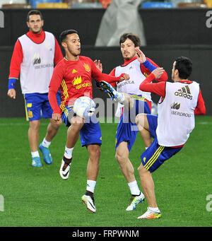 Udine, Italy. 23rd March, 2016. Spain's players during the training session for the friendly football match between - Stock Photo