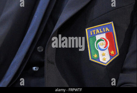 Udine, Italy. 23rd March, 2016.  Italy's press conference for the friendly football match between Italy and Spain - Stock Photo