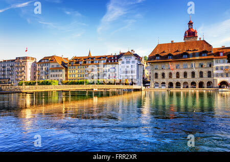 Lucerne, Switzerland, view of the old town with Town Hall and Reuss river - Stock Photo