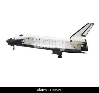 Space shuttle Atlantis isolated on white profile view  (original image couresy of NASA http://www.jpl.nasa.gov) - Stock Photo