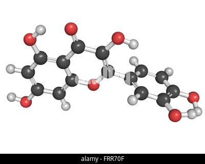 Chemical structure of a quercetin flavonoid molecule. Quercetin is a flavonoid compound found in many plants. Research - Stock Photo