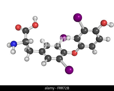 Chemical structure of a triiodothyronine (T3) molecule, thyroid hormone that affects growth and development, metabolism, - Stock Photo